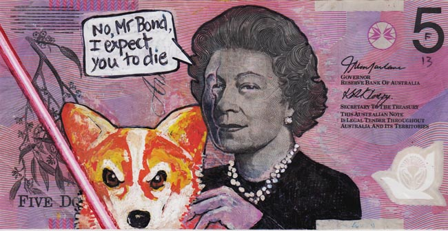 Queen aussie 1 Artist gives Queen Elizabeth a make over on Australian five dollar note