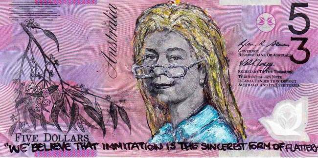 Queen aussie 10 Artist gives Queen Elizabeth a make over on Australian five dollar note