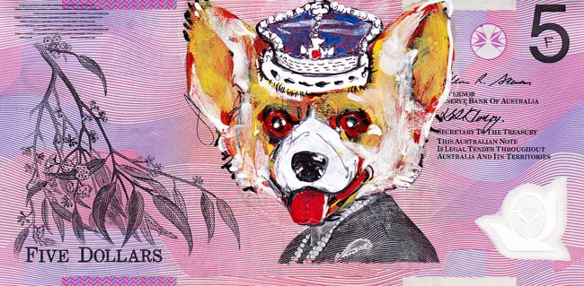 Queen aussie 13 Artist gives Queen Elizabeth a make over on Australian five dollar note