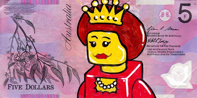Queen aussie 14 Artist gives Queen Elizabeth a make over on Australian five dollar note