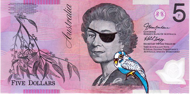 Queen aussie 15 Artist gives Queen Elizabeth a make over on Australian five dollar note