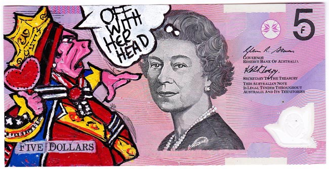 Queen aussie 16 Artist gives Queen Elizabeth a make over on Australian five dollar note
