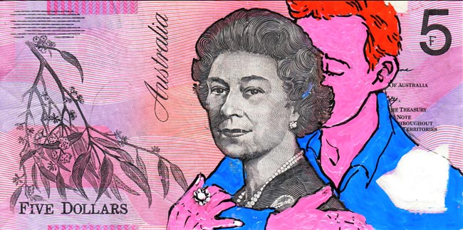 Queen aussie 19 Artist gives Queen Elizabeth a make over on Australian five dollar note