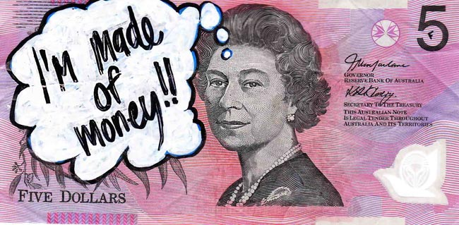 Queen aussie 24 Artist gives Queen Elizabeth a make over on Australian five dollar note