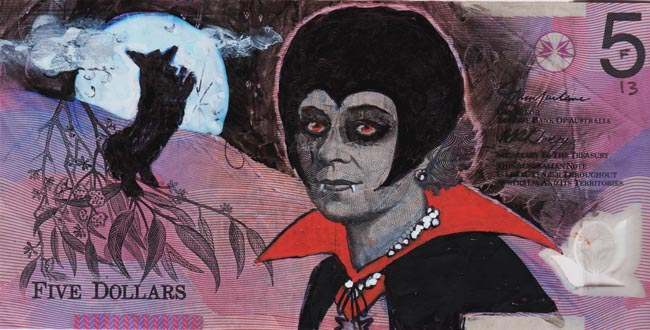Queen aussie 3 Artist gives Queen Elizabeth a make over on Australian five dollar note