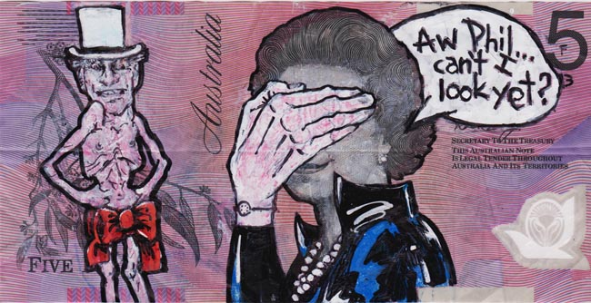 Queen aussie 5 Artist gives Queen Elizabeth a make over on Australian five dollar note