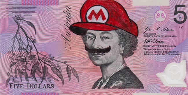 Queen aussie 7 Artist gives Queen Elizabeth a make over on Australian five dollar note