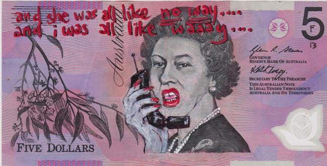 Queen aussie 9 Artist gives Queen Elizabeth a make over on Australian five dollar note