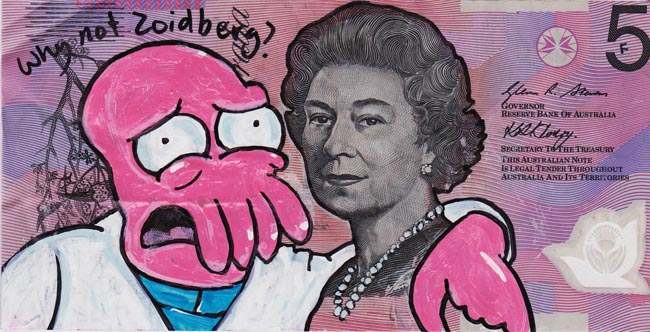 Queen aussie Artist gives Queen Elizabeth a make over on Australian five dollar note