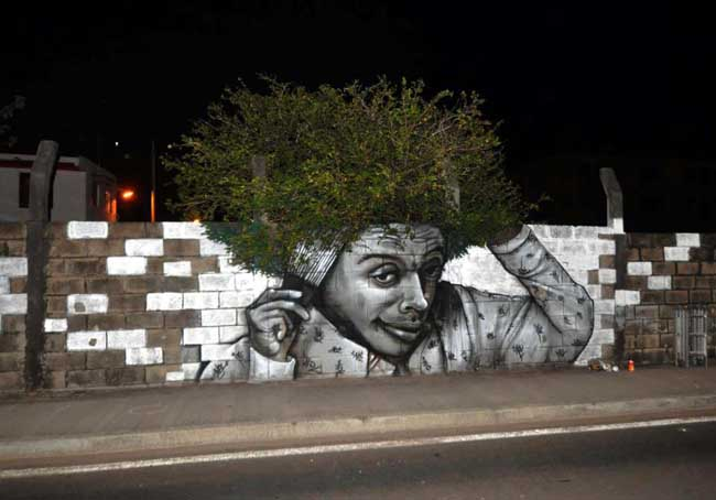 STReET ART Nuxuno Xäns bushy afro in Fort De France, Martinique