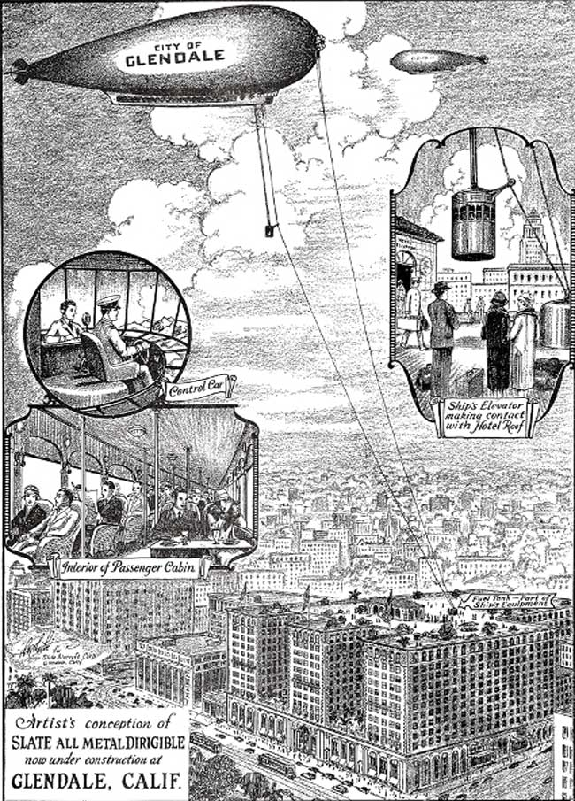 The Slate Dirigible Company's concept of air travel in 1929