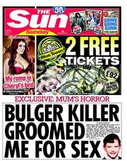 The Sun newspaper front page James Bulger: What do you do with Thompson and Venables unparalleled evil?