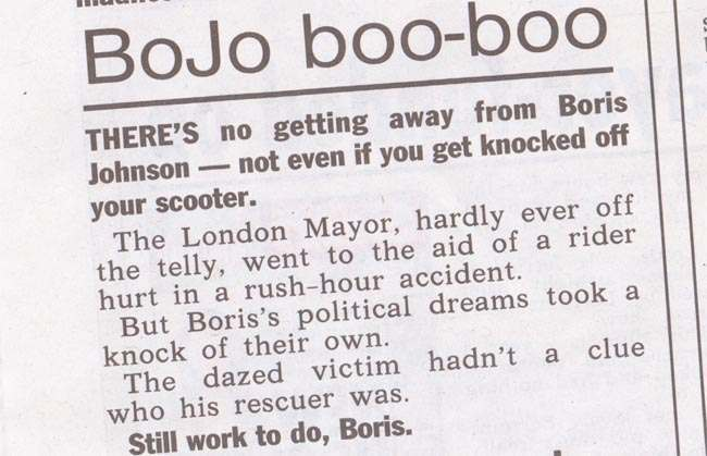 boris johnson scooter The Sun is dazed and confused about Boris Johnsons scooter prang