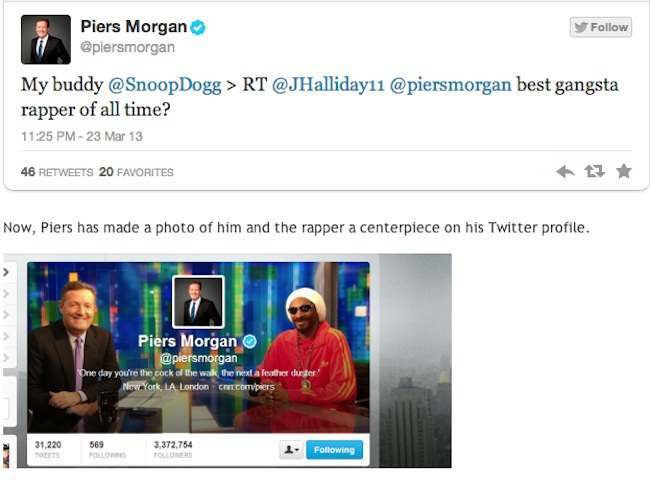 snoop dogg piers morgan Hypocrite Piers Morgan and his buddy Snoop Dogg prove the gun nuts right