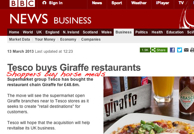 tesco giiraffe Life imitates The Onion: Tesco buys Giraffe retaurants