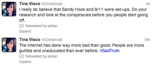 tweet pairing Tweet paring: Sandy Hook and 9/11 conspiracy theorists stupidity exposed