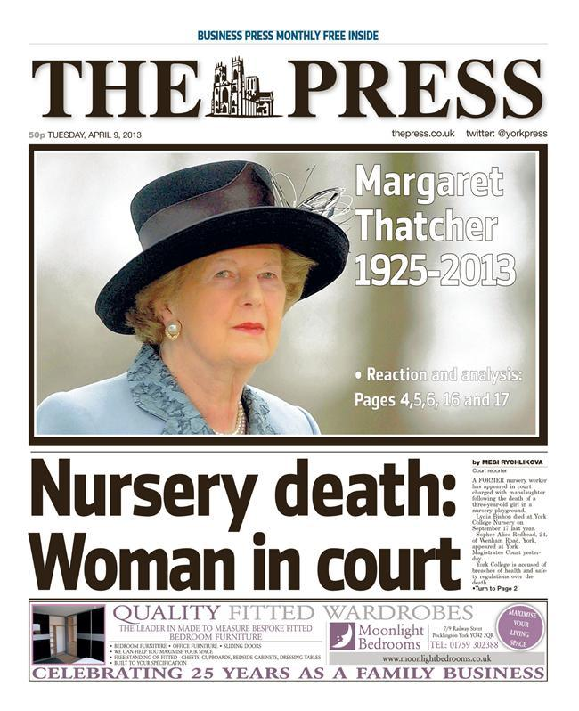 1york How the regional press reacted to the death of Margaret Thatcher
