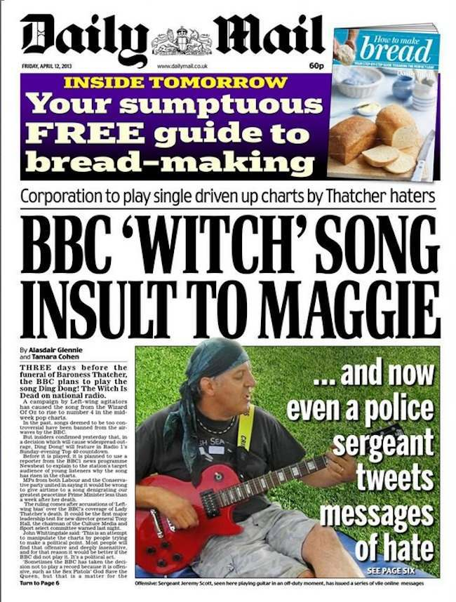 BBC ding dong thatcher Freedom loving Daily Mail upset as BBC chief refuses to ban Thatcher Ding Dong death song   oh, the irony
