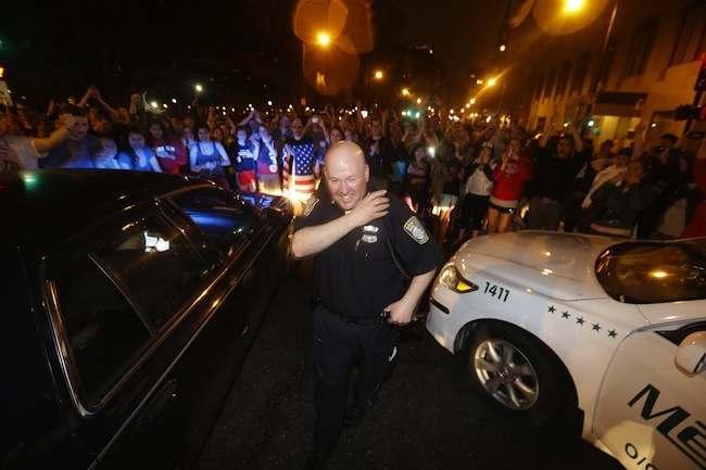Police Converge Mass