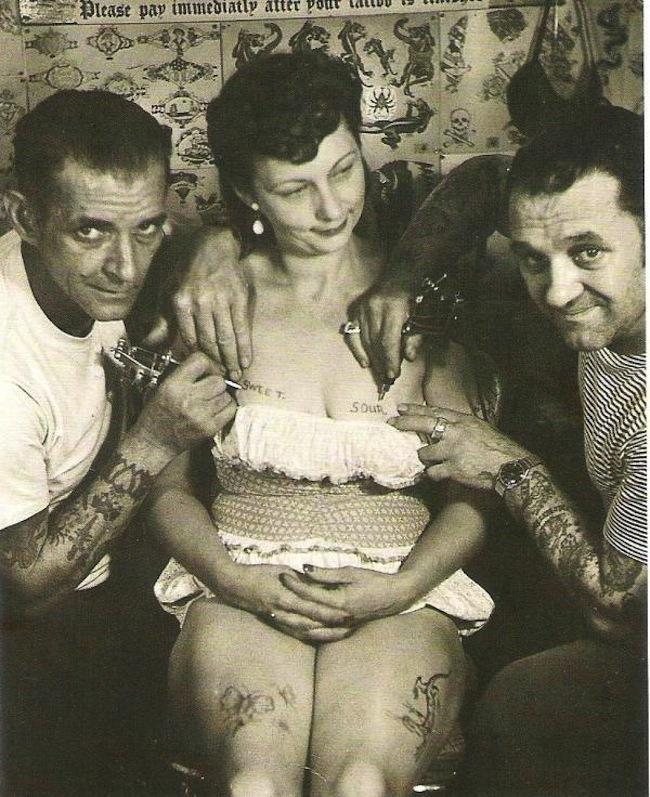 bristol tattoo  Al Schiefley and Les Skuse give a lovely lady the SWEET and SOUR boob tattoo