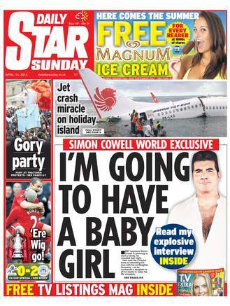 daily star Dead Simon Cowell has a baby girl and lots of sex (says Daily Star)