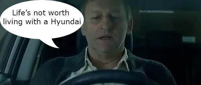 hyundai suicide copy Hyundai make staggeringly stupid advert where a bloke tries to kill himself with clean emissions