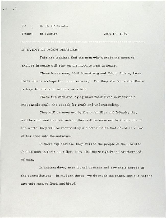 man on moon disaster White House speechwriter William Safires letter to President Nixon on the failed moon landing of 1969