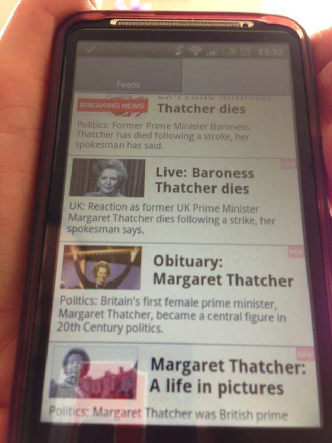 margaret thatcher dies following a strike1 BBC live blogs Baroness Thatchers death from a strike