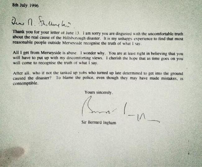 margaret thatcher hillsborough letter