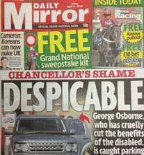 Daily Mirror Geroge Osborne front page