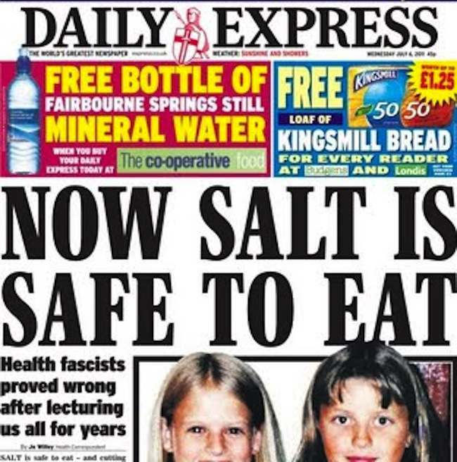 salt express Taking the Daily Express health reporting with a large pinch of salt