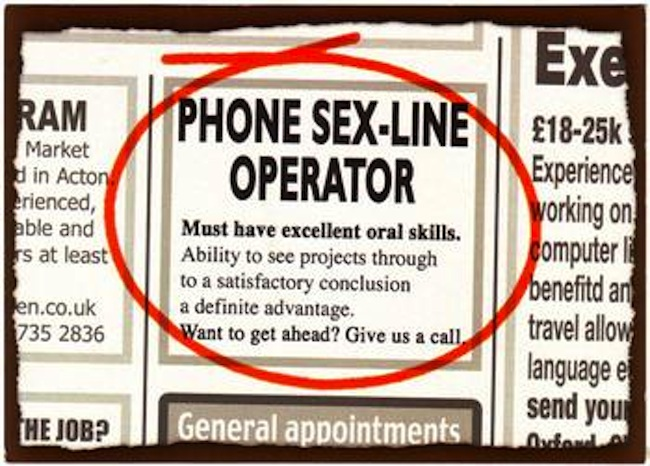 Job as phone sex operator
