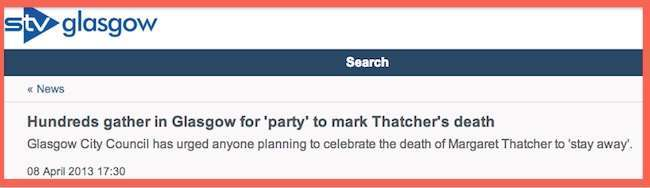 thatcher dies Glasgow leads parties to mark Thatchers death