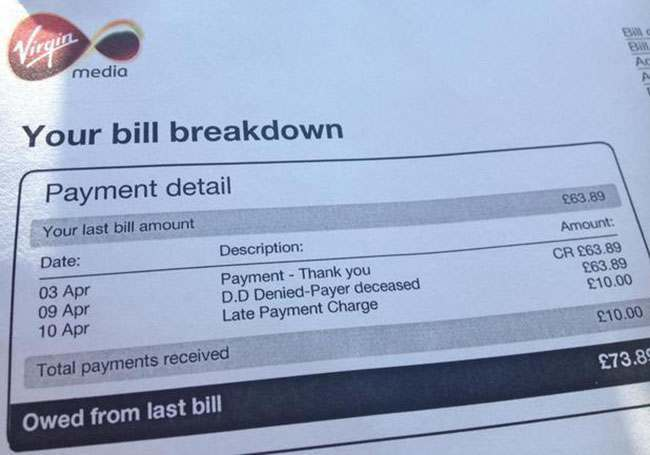 virgin media bill1 Virgin charge man £10 for being dead