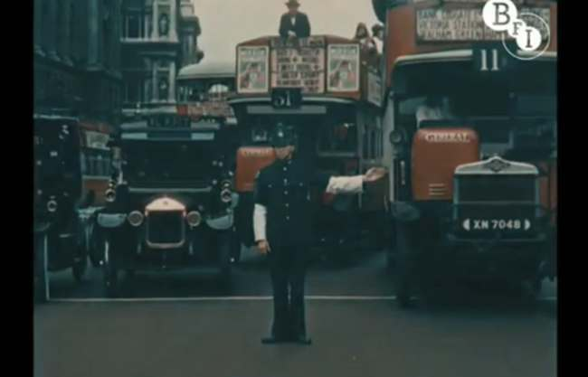 Claude Friese Greene hand 1 Colour film of London in 1927   rare video and photos