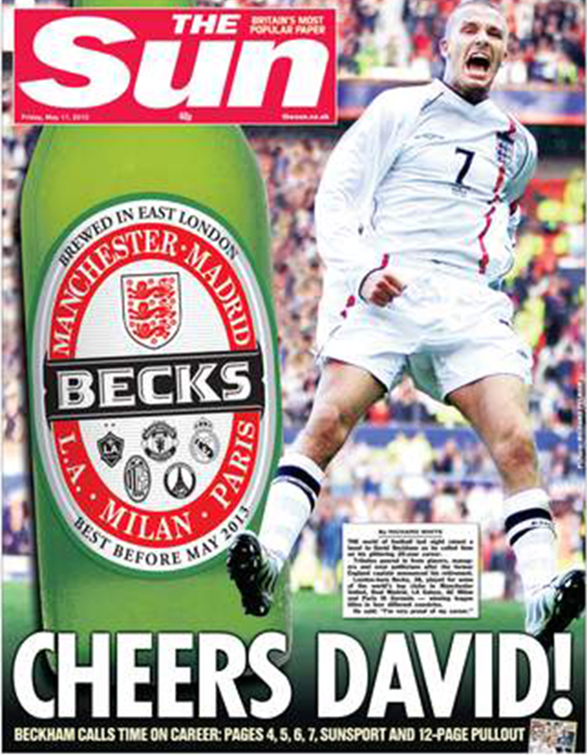 DAvid Beckham retires David Beckham Retires: Sun salutes the English legend with bottle of German beer