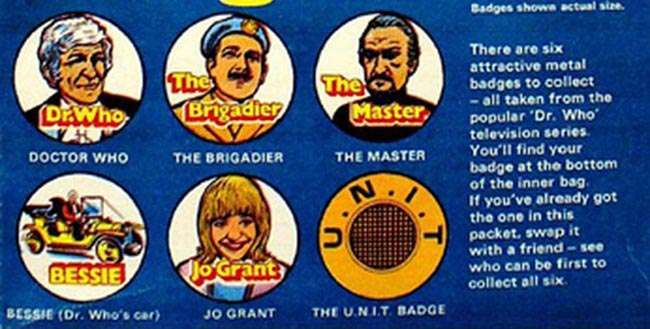 Dr Who badge sugar smacks 1 1970s: Kelloggs Sugar Smacks and FREE DR Who Badges! 