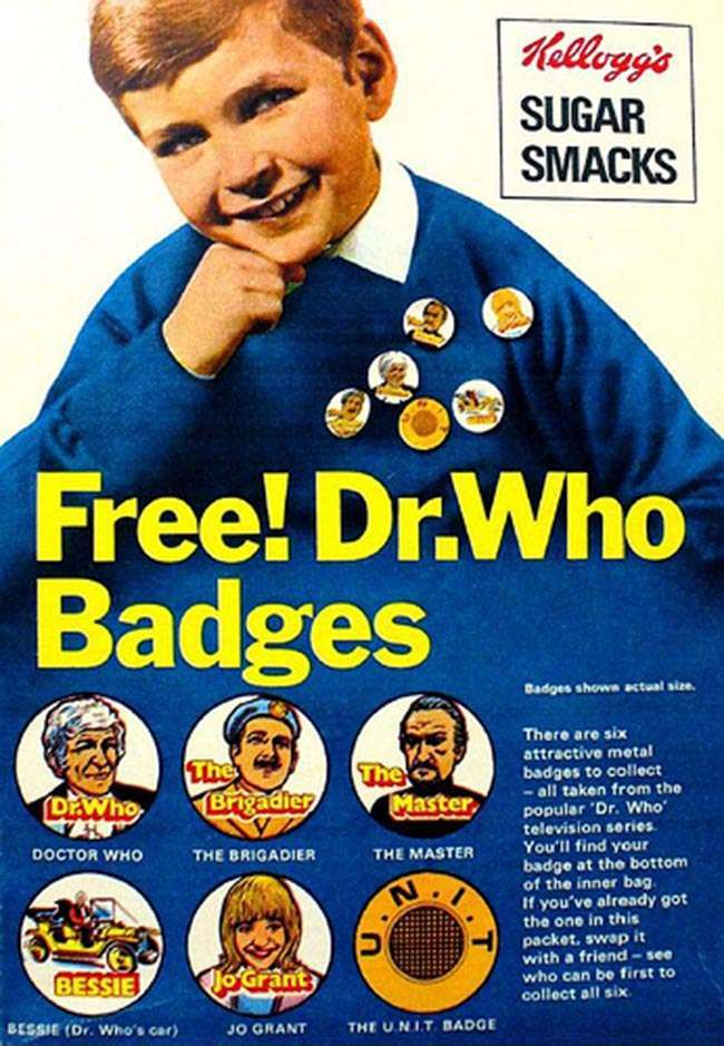 Dr Who badge sugar smacks 1970s: Kelloggs Sugar Smacks and FREE DR Who Badges!