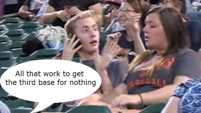 Fresno Grizzlies cam Couple break up on jumbo screen kiss cam