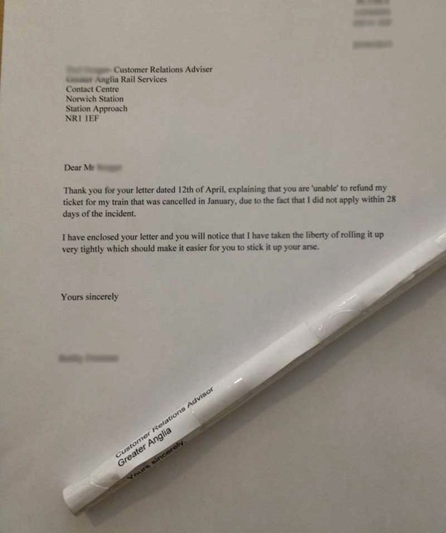 Greater Anglia trains Customer sends Greater Anglia trains complaint letter in form of a suppository