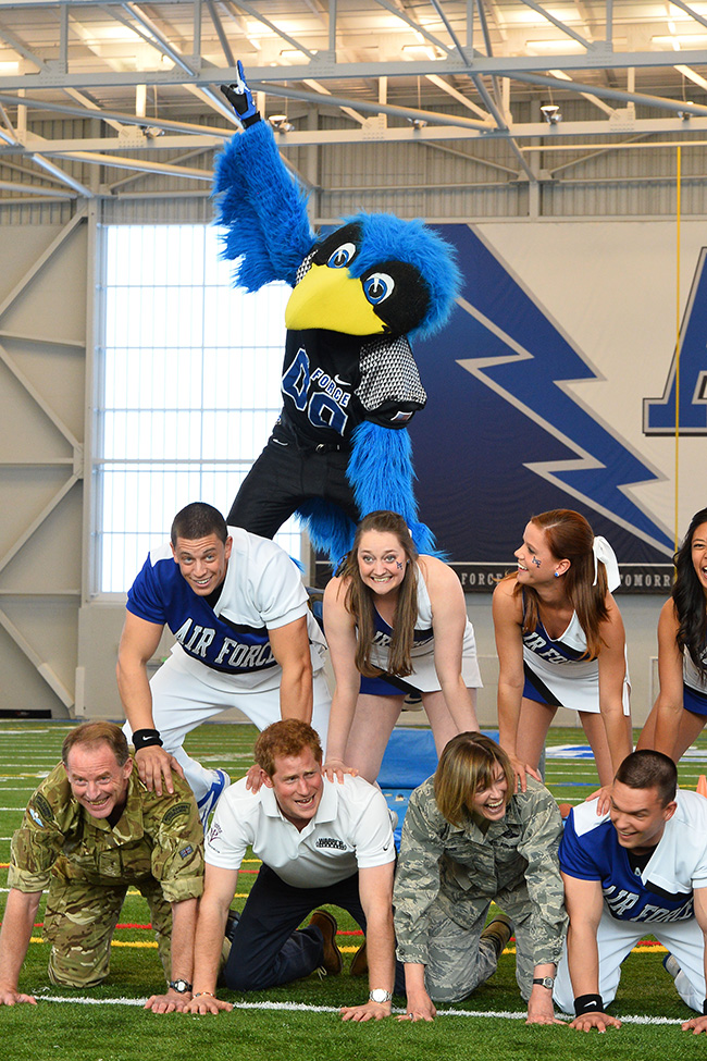 PA 16499453 In photos: Prince Harry meets the cheer leading display team at the US Air Force Academy base in Colorado Springs