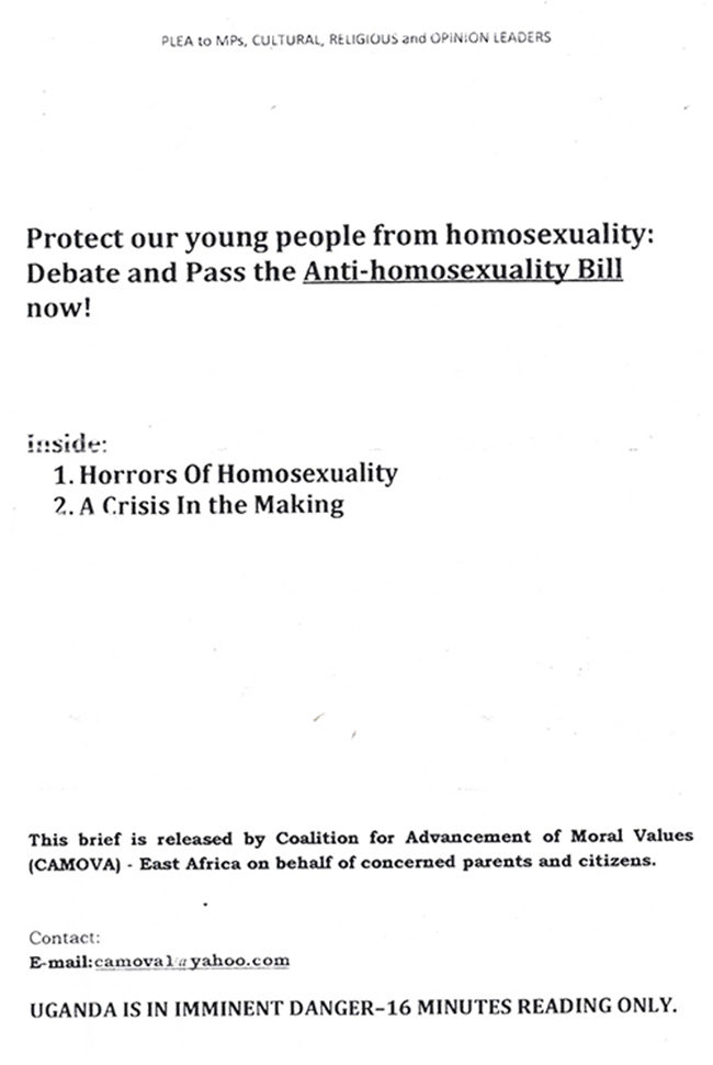 Uganda 1 Ugandas Coalition for Advancement of Moral Values delivered this ludicrous and scary anti homosexual pamphlet to MPs