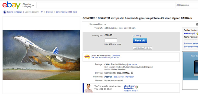 concorde disaster eBay item of the day: the Concorde disaster in pastels