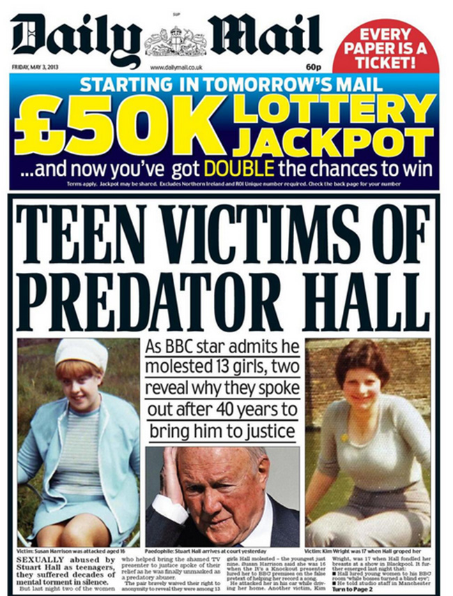 daily mail stuart hall sex Stuart Hall: the newspapers and the victims speak out on the BBCs pet pervert