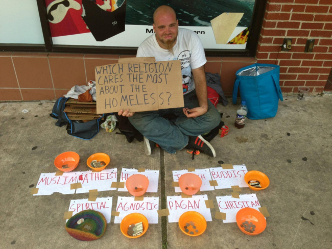 homeless1 Homeless man proves Atheists are more generous than Christians and Muslims