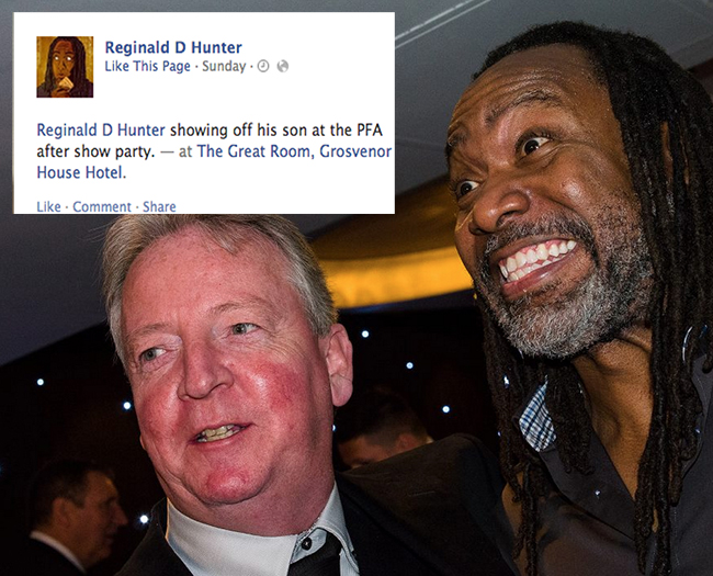 reginald d hunter pfa 24 Reginald D Hunter lampoons the PFA after the nigger race row (the photos)