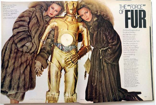 star war vogue 1977 In 1977 Stars Wars characters and Vogue magazine models advertised the wonder of fur coats