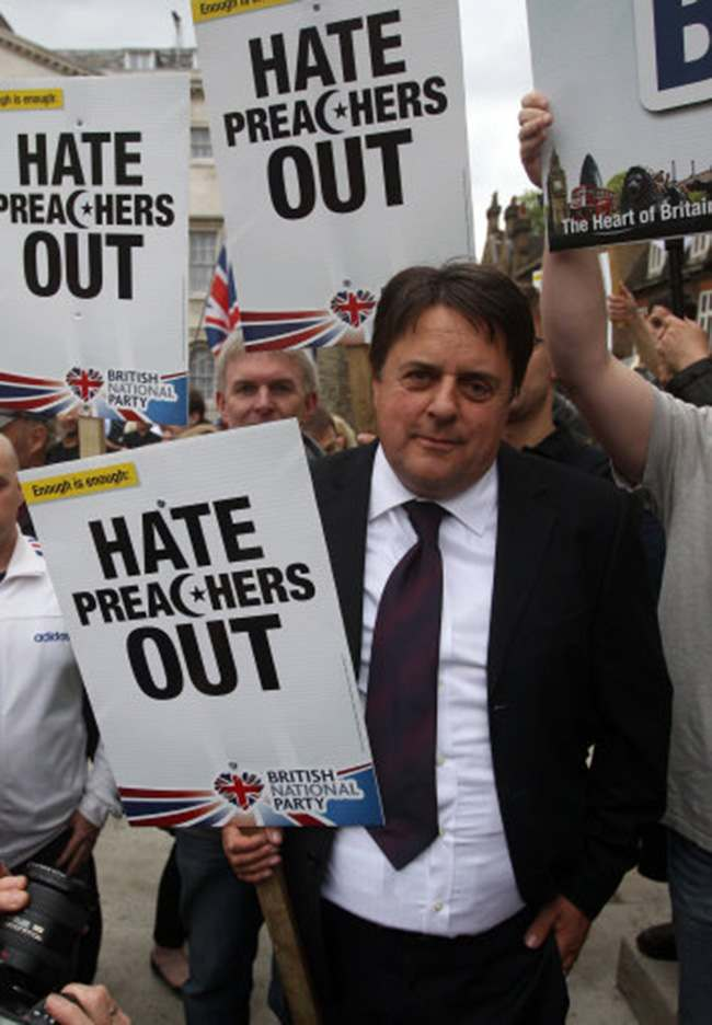 BNP leader Nick Griffin during a demonstration in Westminster in central London.