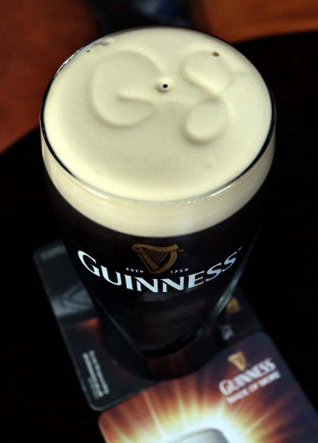 Previously unissued photo dated 13/06/2013 of a pint of Guinness with G8 formed on the head in Blakes bar in Enniskillen, Co Fermanagh, ahead of the G8 summit in Northern Ireland.