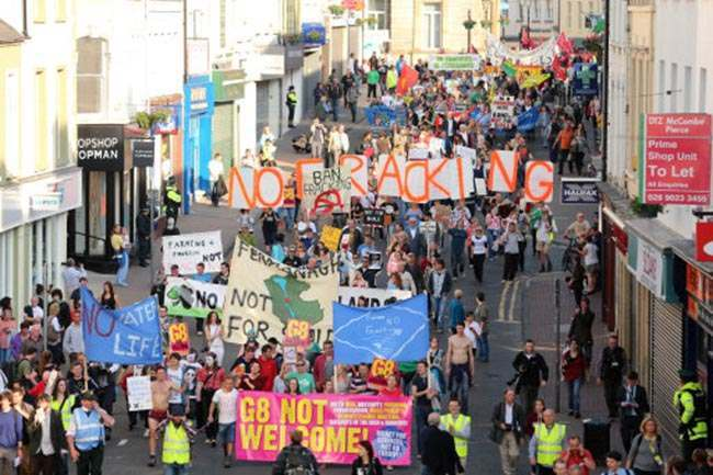 Anti G8 Summit demonstrators take to the streets of Enniskillen this evening.